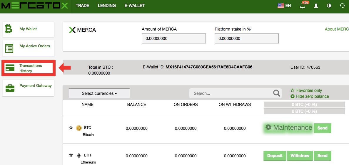 MERCATOXの取引履歴の取得方法